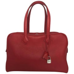 Hermes Victoria Clemence Red Leather Handbag with Palladium Hardware