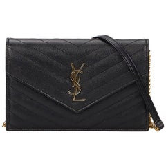 Yves Saint Laurent YSL Black Leather Monogram Wallet on Chain