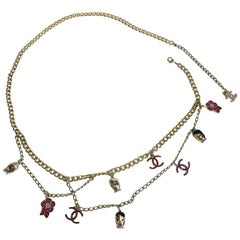 CHANEL 'Paris-Shanghaï' Long Necklace-Belt in Gilt Metal and Charms