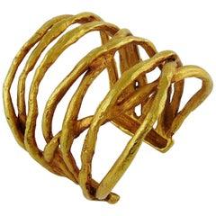 Christian Lacroix Vintage Gold Tone Wired Design Cuff Bracelet
