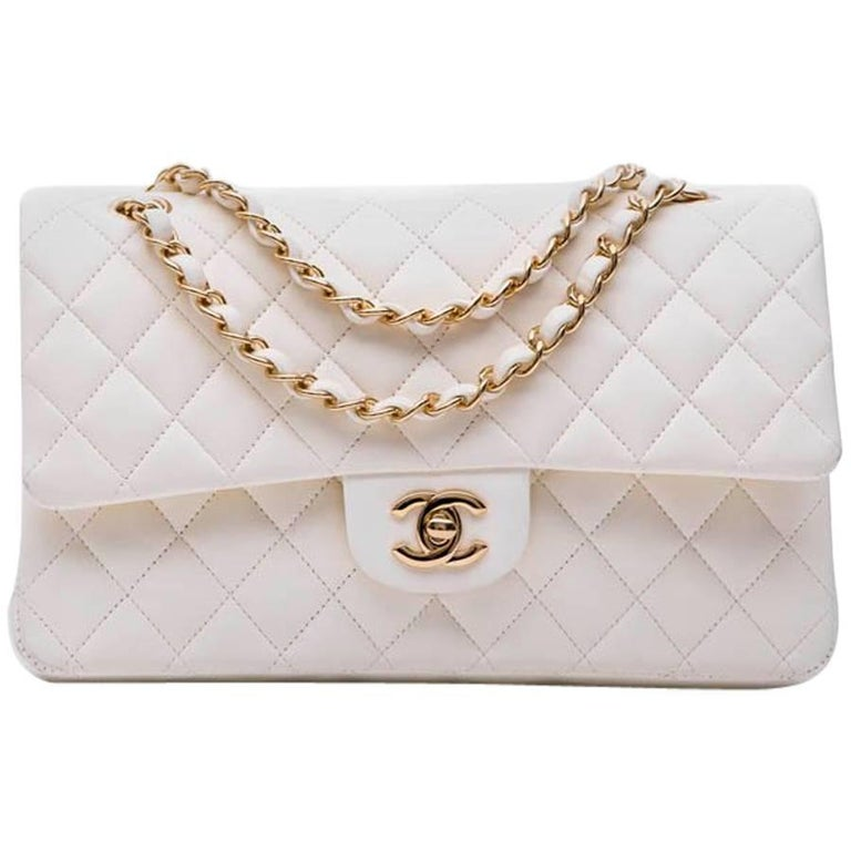 d1990f65d9bbc4 CHANEL Timeless Double Flap Bag in Eggshell Quilted Smooth Lamb Leather For  Sale