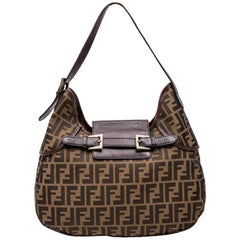FENDI Bag in Brown Monogram Canvas and Grained Leather