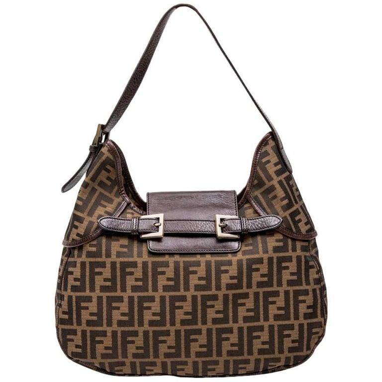 FENDI Brown FF MONOGRAM Canvas MAMA BAG Shoulder Bag For Sale at 1stdibs 13066ea16bd5a