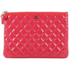 Chanel Valentine Hearts O Case Clutch Quilted Patent Medium