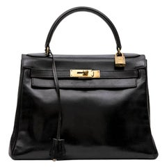 HERMES Vintage Kelly 28 Bag in Black Box Leather