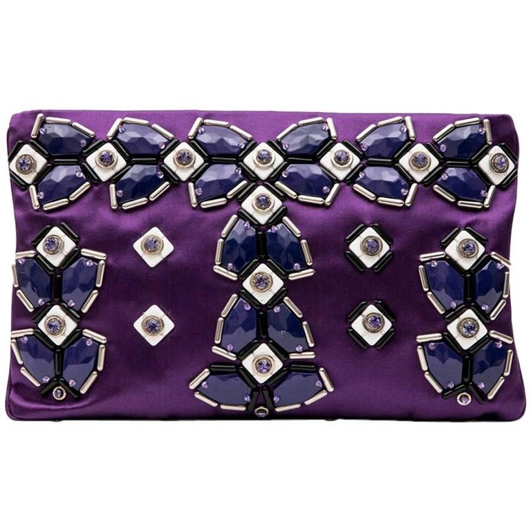 PRADA Clutch Bag in Purple Satin, Swarovski Crystals and Cabochons