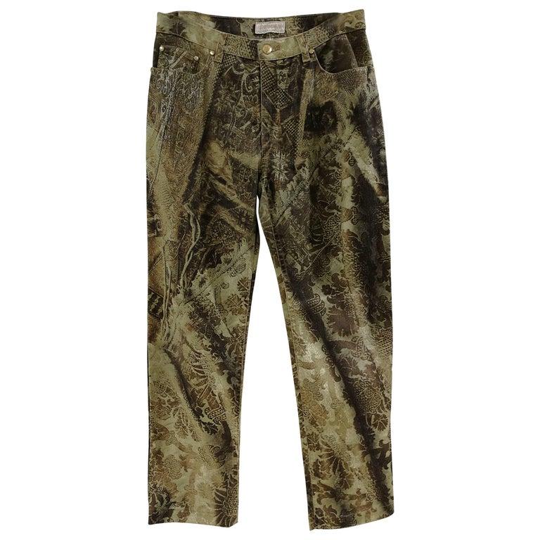Roberto Cavalli Green Gold Trousers