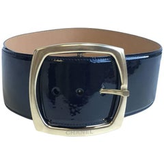 CHANEL Wide Belt in Navy Patent Leather Size 38FR