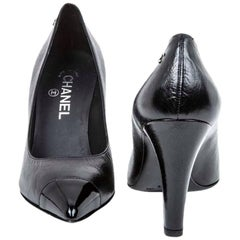 CHANEL High Heels Pumps in Black Smooth Lamb Leather Size 38.5FR