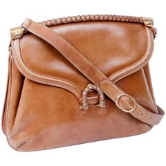Collector GUCCI Vintage 70's Bag in Aged Brown Leather