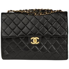 Chanel Black Quilted Lambskin Vintage Jumbo Classic Single Flap Bag, 1990s