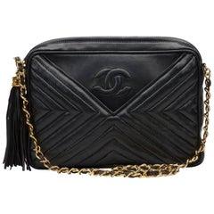 Chanel Black Chevron Quilted Lambskin Vintage Timeless Fringe Camera Bag, 1980s