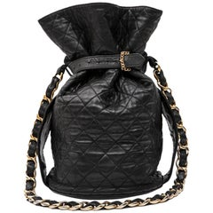 CHANEL Vintage Bucket Bag in Black Quilted Leather