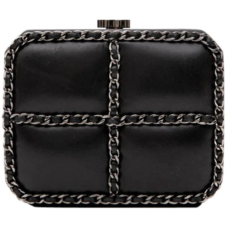 152acd200 CHANEL Minaudière Bag in Black Smooth Lamb Leather at 1stdibs
