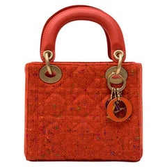 CHRISTIAN DIOR 'Lady Dior' Mini Bag in Coral Tweed and leather