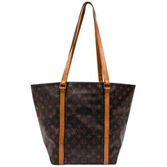 LOUIS VUITTON Vintage Tote Bag in Brown Canvas and Natural Leather