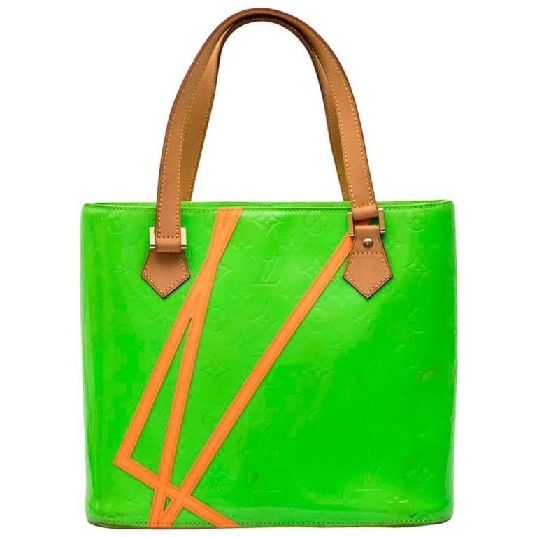 LOUIS VUITTON 'Houston' Bag in Fluo Green Monogram Patent Leather