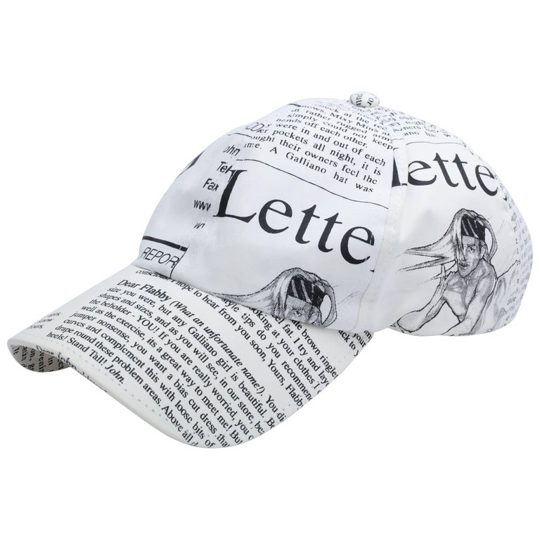 John Galliano Iconic Newspaper Print Cap