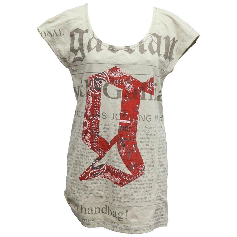 John Galliano Newspaper Print T-Shirt Kahki
