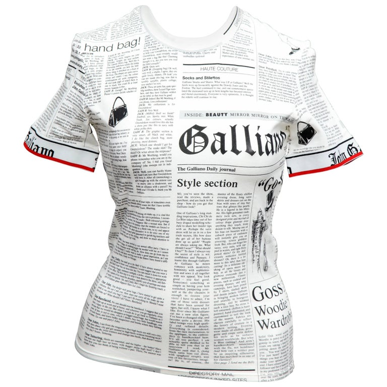 6e71849bb John Galliano for Christian Dior Newspaper T-Shirt For Sale at 1stdibs