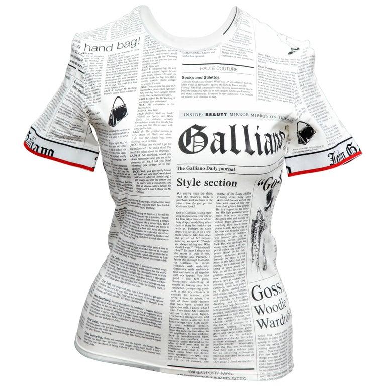 Rare John Galliano for Christian Dior Newspaper T-Shirt