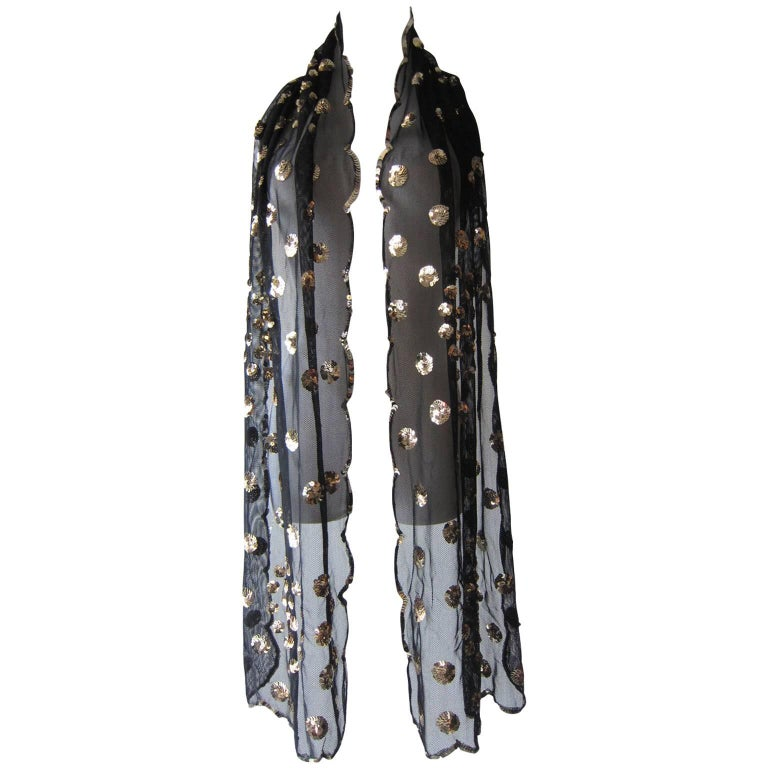 Black Mesh Silver Sequin Polka Dots Scarf  1970s