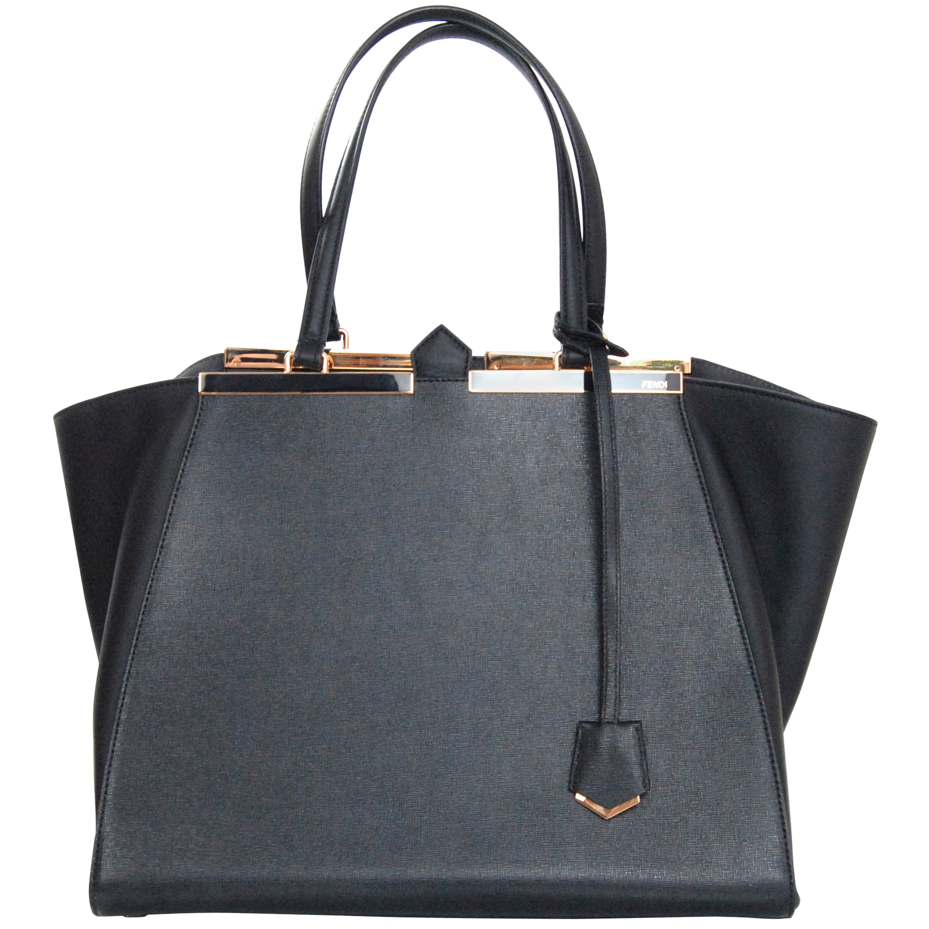 9f033c9b3b25 Fendi Black Textured Leather Medium 3Jours Tote Bag rt.  2