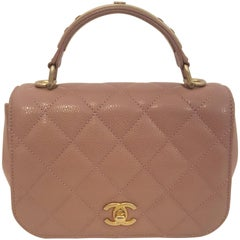 Chanel Rose Carry Around Lambskin Grain Leather Top Handle Flap Bag