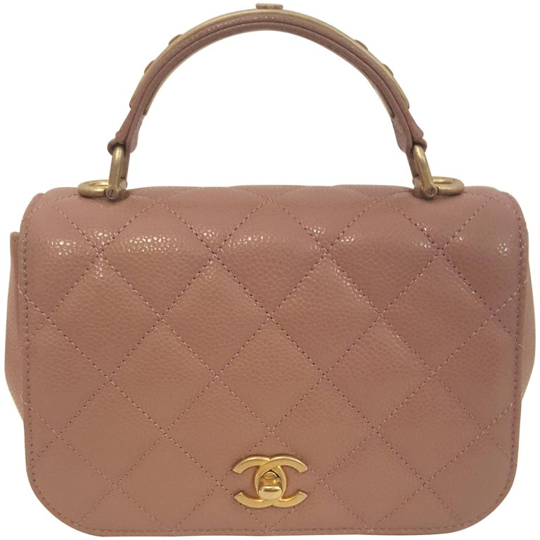 7683b257 Chanel Rose Carry Around Lambskin Grain Leather Top Handle Flap Bag
