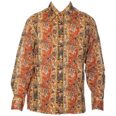 1960s Mens Saks Victorian Paisley Printed Cotton Shirt