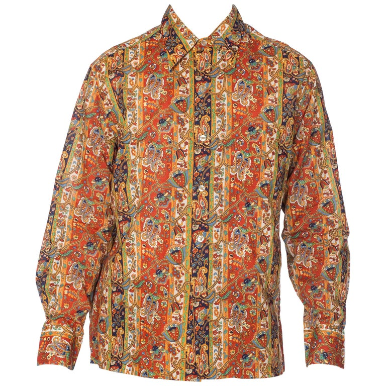 1960s Mens Saks Victorian Paisley Printed Cotton Shirt