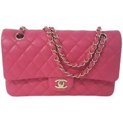 Classic Chanel Double Flap Quilted Fuchsia Lambskin Leather & Gold Tone Decor