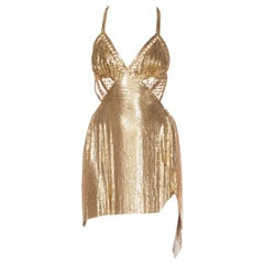 Backless Slinky Gold Mini Dress made from Vintage Metalmesh & Chains