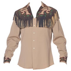 Embroidered Mens Western Shirt with Leather Suede Applique and Fringe, 1940s