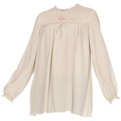 Hand Embroidered Liberty Style Vintage Silk Crepe Boho Tunic Blouse