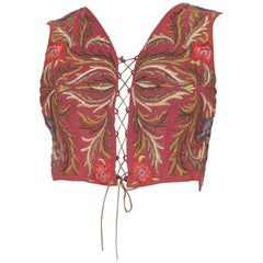 Antique Bustier Vest Covered in Rich Heavy Metal and Silk Embroidery