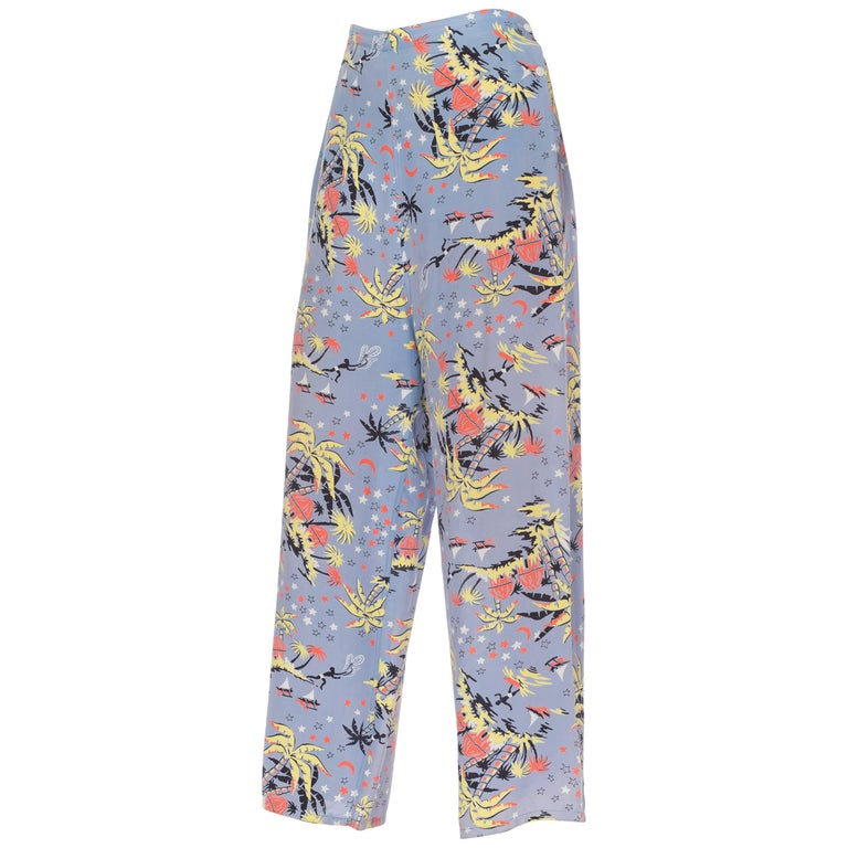 1940s Tropical Starry Night Rayon Lounge Pants