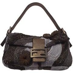 Fabulous Fendi Baguette Metallic Medusa Grey & Brass Bag