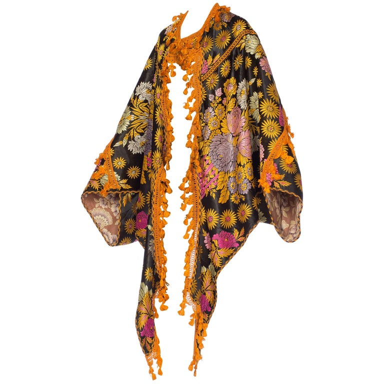 1920s Moroccan Archway Cloak with Floral Jaquard and tassels