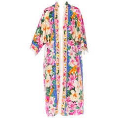 1980S Floral Multicolored Polyester Jacquard Pink Tropical Kaftan