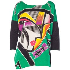 1980S Kansai Yamamoto Green Asymmetrical Abstract Face Print Top With Cropped B