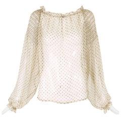 Loulou de la Falaise Silk Chiffon Polka Dot Blouse