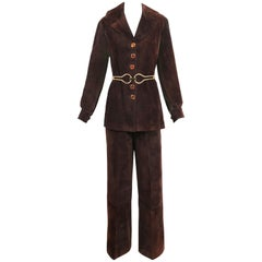 1970's Gucci Brown Suede Jacket & Pants Ensemble w/Oversized Gold Tone Belt