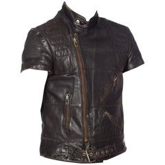 Mens Cropped Sleeve Leather Biker Jacket Formerly Belonging to the Band Justice