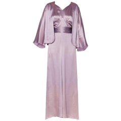 Rare Art Deco Large Size 1930s Silver Screen Hammered Silk Satin Gown