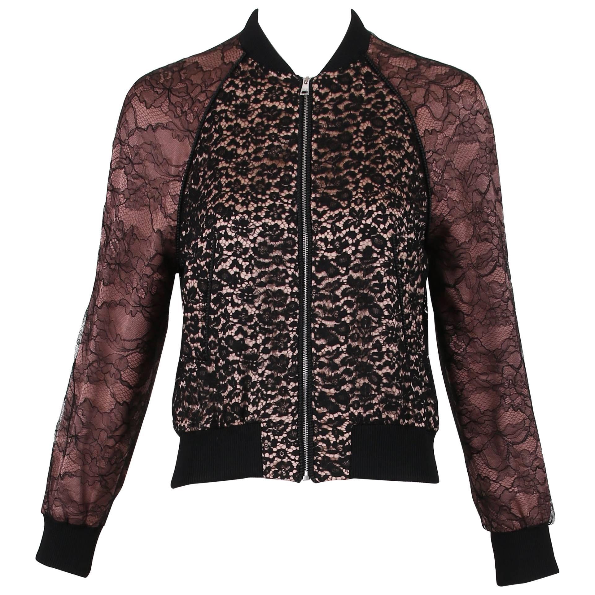 2016 Gucci Black & Dusty Rose Lace Bomber Jacket