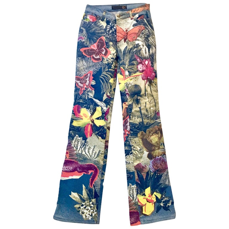 "Contemporay Crystal Coated ""Butterfly"" Denim Jeans By, Roberto Cavalli"