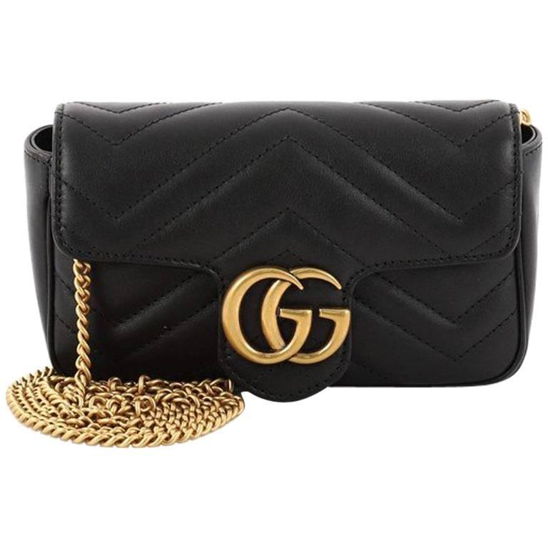 fca45894689fbd Gucci GG Marmont Flap Bag Matelasse Leather Super Mini at 1stdibs