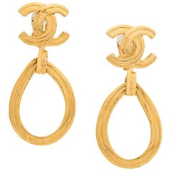 Chanel  Drop Logo Clip On Earrings