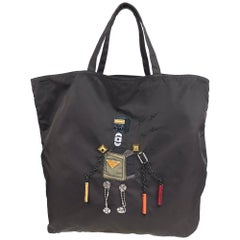 Prada robot applique nylon tote bag